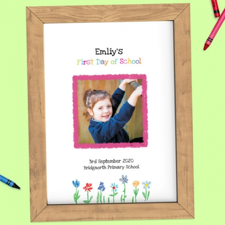 Personalised My First Day Print - Crayon Flowers