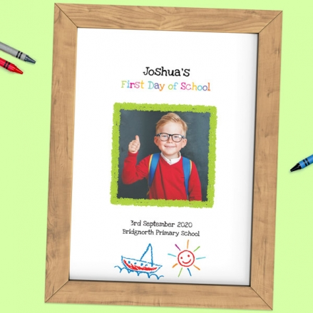 Personalised My First Day Print - Crayon Transport