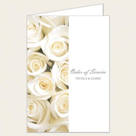 Cream English Rose - Wedding Order of Service