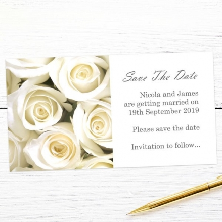Cream English Rose - Save the Date Magnets