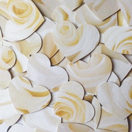 Cream English Rose - Heart Table Confetti