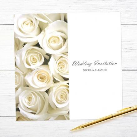 Cream English Rose - Wedding Invitations