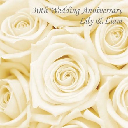 30th Wedding Anniversary Invitations - Cream Roses