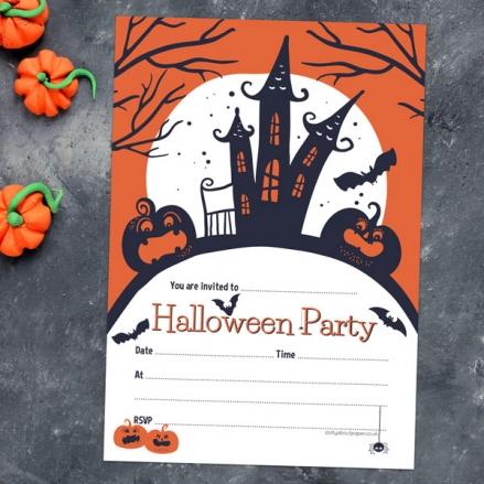 Creepy Pumpkin Castle - Halloween Notelet Invitation - Pack of 20