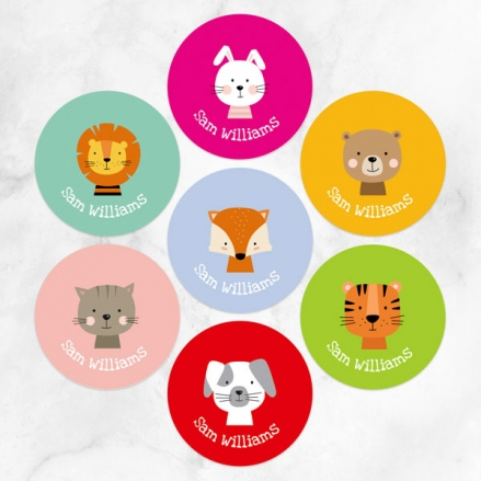 Cute Animals - Personalised Kids Stickers - Pack of 35