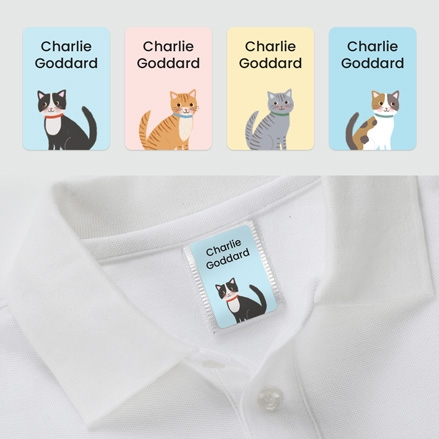 No Iron Personalised Stick On Clothing Name Labels - Cute Cats - Mixed Pack of 56