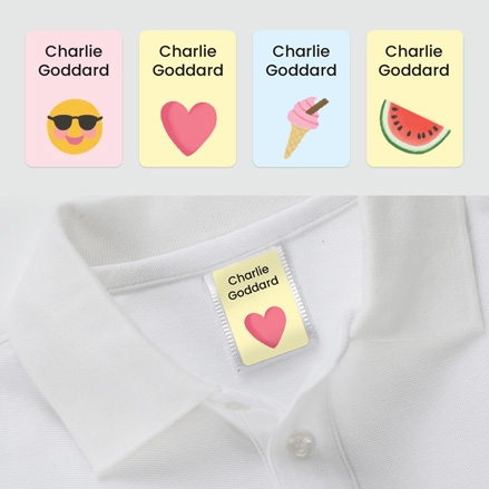 No Iron Personalised Stick On Clothing Name Labels - Cute Icons Heart Mix - Mixed Pack of 56