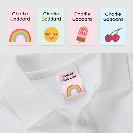 No Iron Personalised Stick On Clothing Name Labels - Cute Icons Rainbow Mix - Mixed Pack of 56