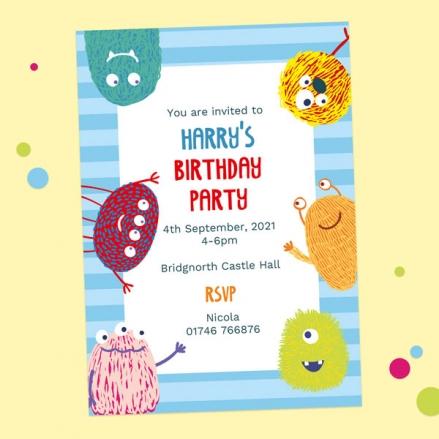 Kids Birthday Invitations - Cute Monsters - Pack of 10