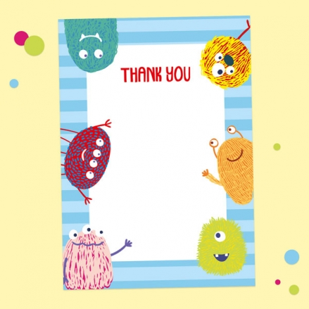 Ready to Write Kids Thank You Cards - Cute Monsters