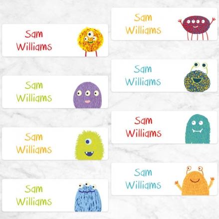 Cute Monsters - Personalised Kids Stickers - Pack of 32