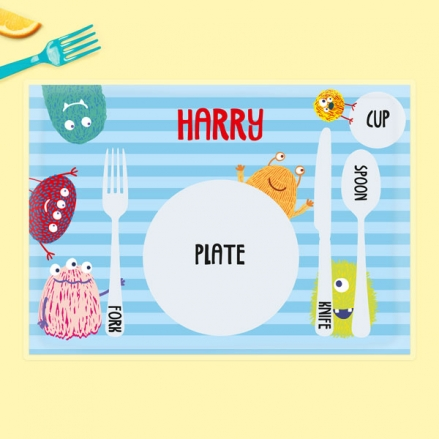 Personalised Kids Placemat - Cute Monsters