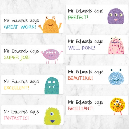 Cute Monsters - Teacher Stickers - Pack of 32