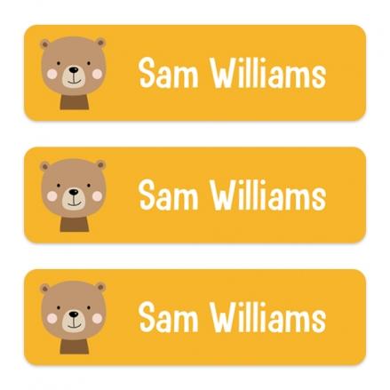 Medium Personalised Stick On Waterproof (Equipment) Name Labels - Cute Bear - Pack of 42