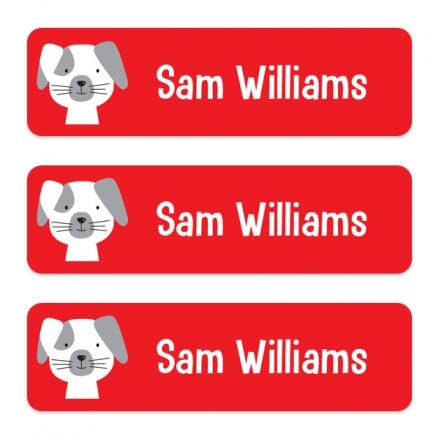Medium Personalised Stick On Waterproof (Equipment) Name Labels - Cute Dog - Pack of 42