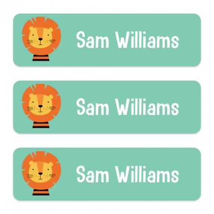 Medium Personalised Stick On Waterproof (Equipment) Name Labels - Cute Lion - Pack of 42