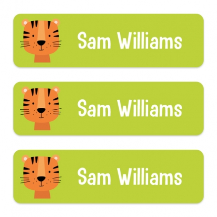 Medium Personalised Stick On Waterproof (Equipment) Name Labels - Cute Tiger - Pack of 42