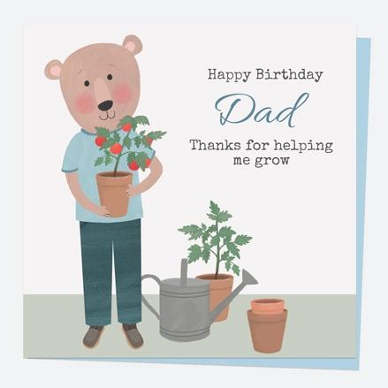 Dad Birthday Card - Dotty Bear Gardening - Dad