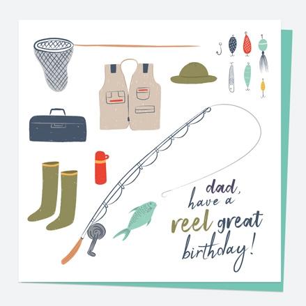 Dad Birthday Card - Fishing - Reel Great - Dad