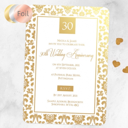 30th Foil Wedding Anniversary Invitations - Damask Frame