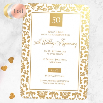 50th Foil Wedding Anniversary Invitations - Damask Frame