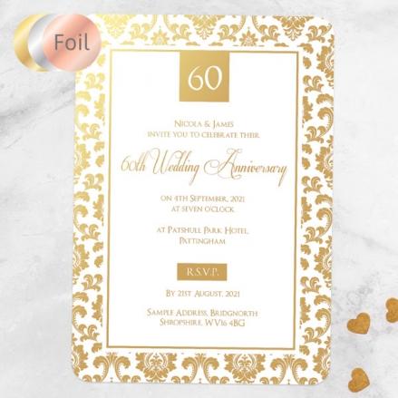 60th Foil Wedding Anniversary Invitations - Damask Frame