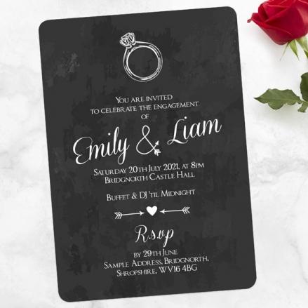 Engagement Party Invitations - Chalkboard Diamond Ring