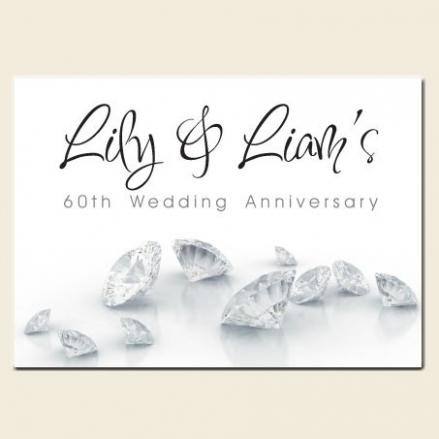 60th Wedding Anniversary Invitations - Diamonds