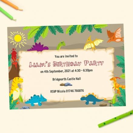 Kids Birthday Invitations - Dinosaur World - Pack of 10