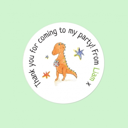 Dinosaur Cake Party - Sweet Bag Stickers - Pack of 35