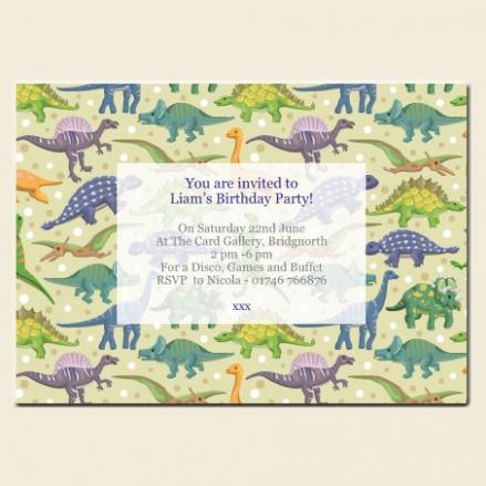 Personalised Kids Birthday Invitations - Dinosaur Party - Pack of 10