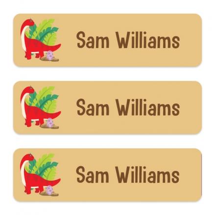 Medium Personalised Stick On Waterproof (Equipment) Name Labels - Red Dinosaur - Pack of 42