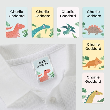 No Iron Personalised Stick On Clothing Name Labels Dinosaur Mixed Pack of 56 thumbnail