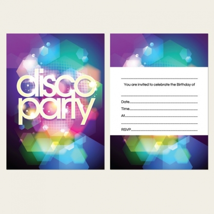Ready to Write Kids Birthday Invitations - Disco Party - Pack of 10
