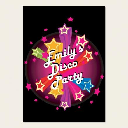 Personalised Kids Birthday Invitations - Disco Stars - Pack of 10