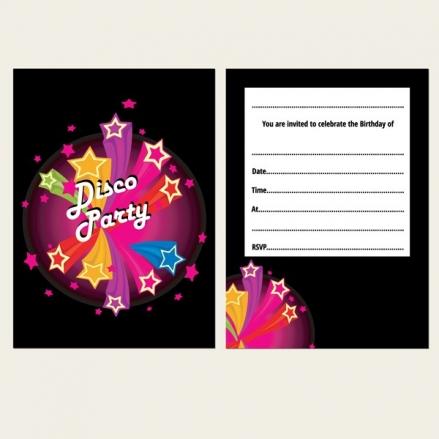 Ready to Write Kids Birthday Invitations - Disco Stars - Pack of 10