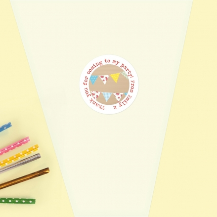 Ditsy Bunting - Sweet Cone Bag & Sticker - Pack of 35