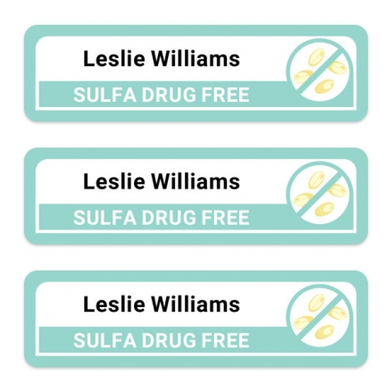 Care-Home-Medium-Personalised-Stick-On-Waterproof-(Equipment)-Allergy-Name-Labels-Sulfa-Drug-Pack-of-42