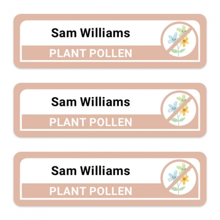 Medium-Personalised-Stick-On-Waterproof-(Equipment)-Allergy-Name-Labels-Plant-Pollen-Pack-of-42