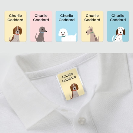 No Iron Personalised Stick On Clothing Name Labels Cute Dogs Mixed Pack of 56 thumbnail
