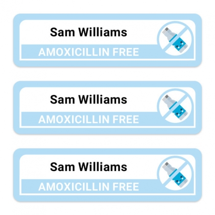 Medium-Personalised-Stick-On-Waterproof-(Equipment)-Allergy-Name-Labels-Amoxicillin-Pack-of-42
