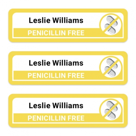 Care-Home-Medium-Personalised-Stick-On-Waterproof-(Equipment)-Allergy-Name-Labels-Penicillin-Pack-of-42