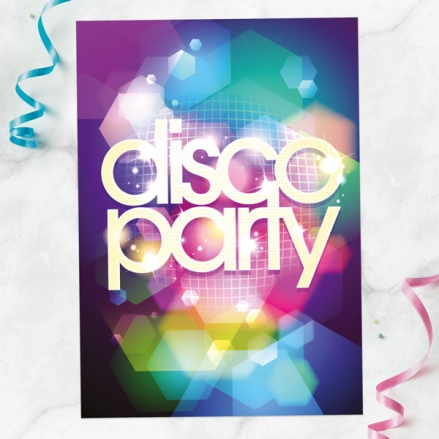 Personalised Kids Birthday Invitations - Disco Party - Pack of 10