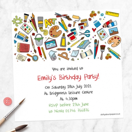 Personalised Kids Birthday Invitations - Arts & Crafts Party - Pack of 10
