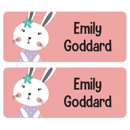 Personalised Stick On Waterproof (Equipment) Name Labels - Bunny - Pack of 30