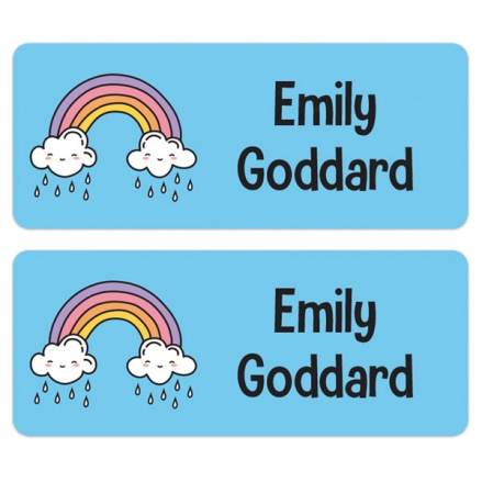 Personalised Stick On Waterproof (Equipment) Name Labels - Rainbow - Pack of 30