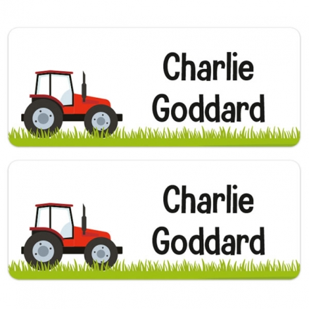 Personalised Stick On Waterproof (Equipment) Name Labels - Tractor - Pack of 30