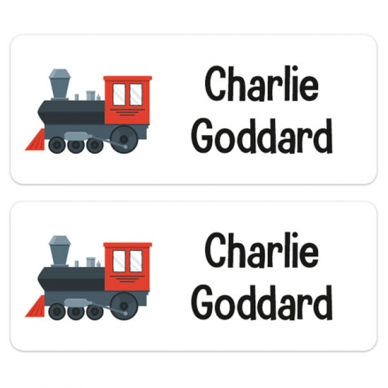 Personalised Stick On Waterproof (Equipment) Name Labels - Train - Pack of 30