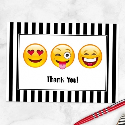 Ready to Write Thank You Cards - Emoji Party