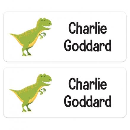 Personalised Stick On Waterproof (Equipment) Name Labels - Dinosaur - Pack of 30